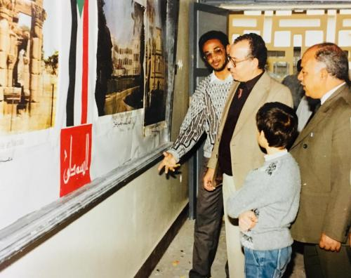 Sudanese-Folklore-Exhibition-With-Dr.-Mahmoud-Awad-Deputy-Dean-of-the-Faculty-of-Engineering-Mansoura-University-Egypt-1989